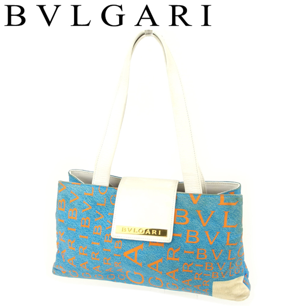 82538a6a5dd Bulgari BVLGARI handbag shoulder bag Lady's logo enthusiast blue orange  white white gold canvas X leather ...