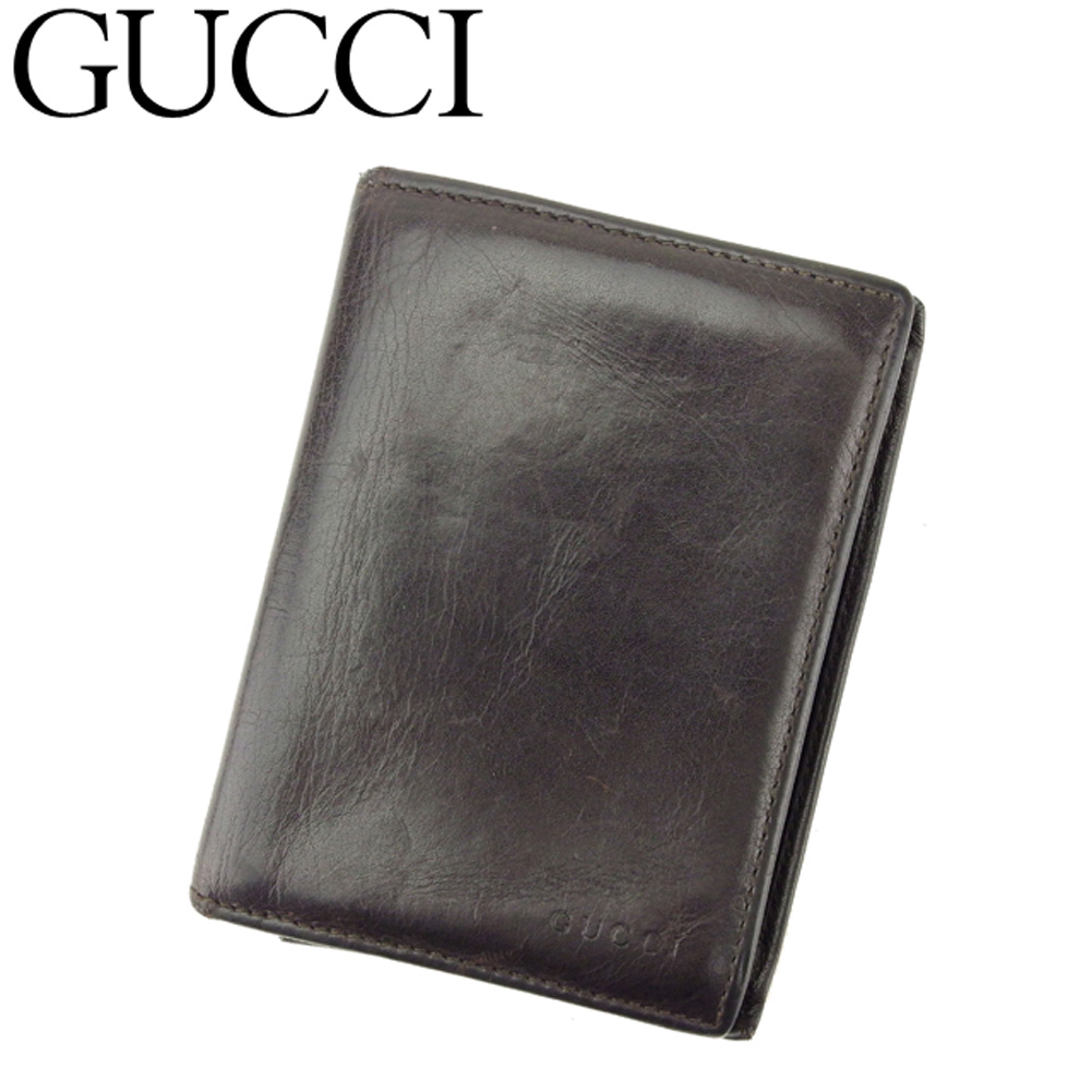 【中古】 グッチ GUCCI カードケース 名刺入れ パスケース メンズ ロゴ ブラウン レザー 人気 セール Q480