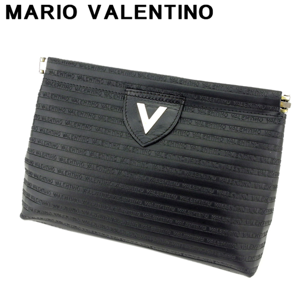 be77d06160 Mario Valentino MARIO VALENTINO clutch bag second bag bag lady men V mark  black silver leather ...