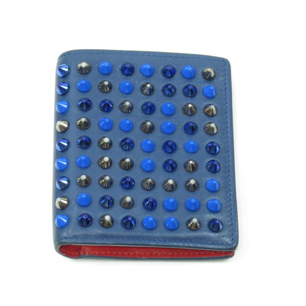 【中古】 クリスチャンルブタン 二つ折り 財布 ミニ財布 レディース メンズ スパイク ネイビー ブルー レッド系 レザー Christian Louboutin T19538