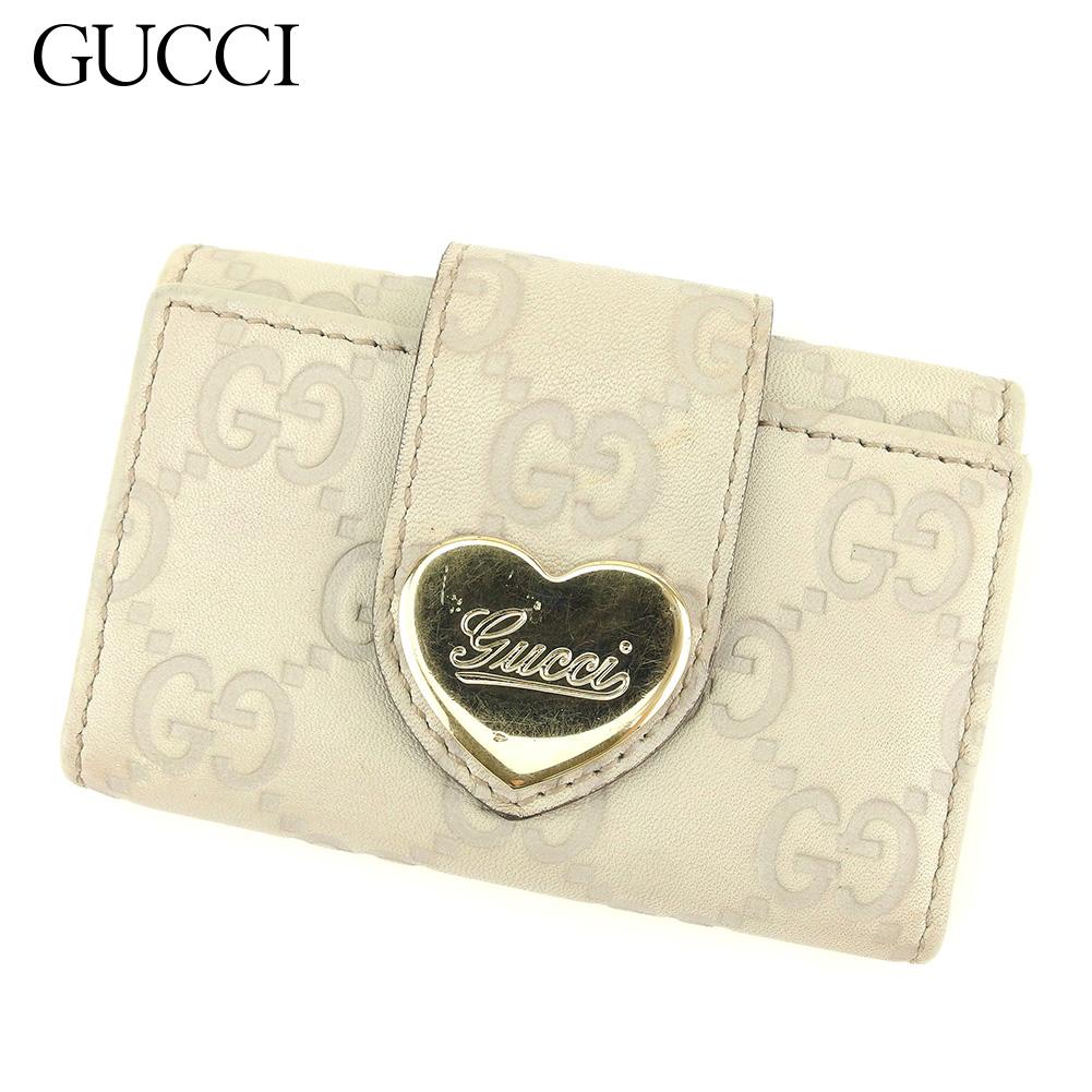【中古】 グッチ Gucci キーケース 6連キーケース レディース グッチシマ ベージュ レザー 人気 セール S943 .