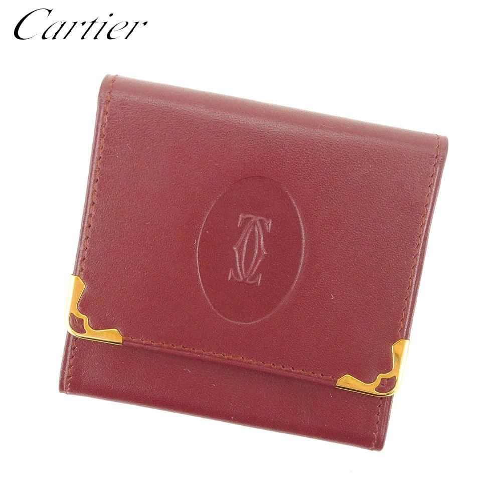 【中古】 カルティエ Cartier コインケース 小銭入れ レディース メンズ マストライン ボルドー レザー 人気 セール S955 .