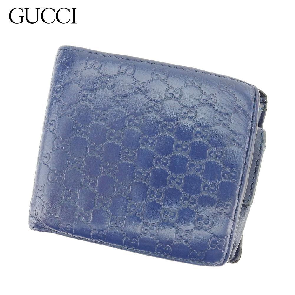【中古】 グッチ Gucci 二つ折り 財布 レディース メンズ グッチシマ ブルー レザー 人気 セール S961 .