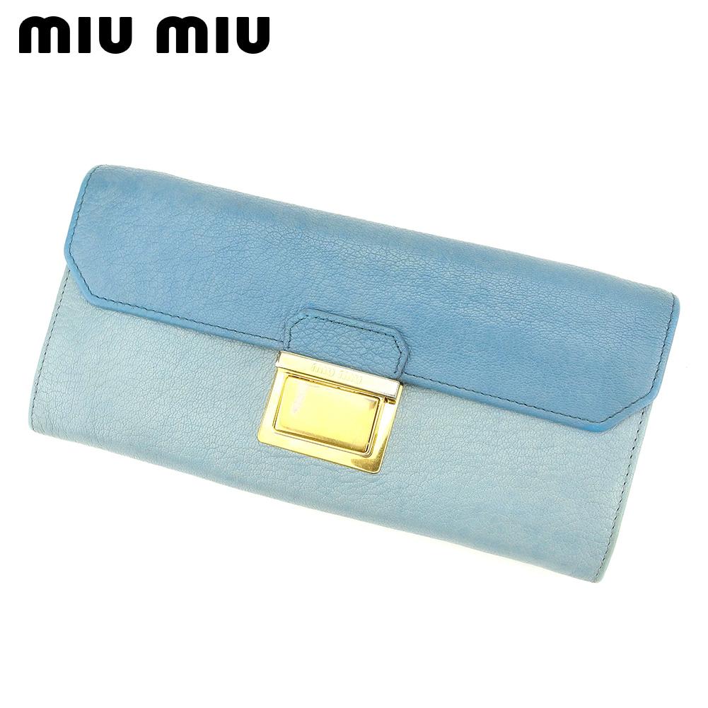 【中古】 ミュウミュウ miu miu 長財布 ファスナー付き 長財布 レディース  ブルー PVC×レザ- 人気 セール S965