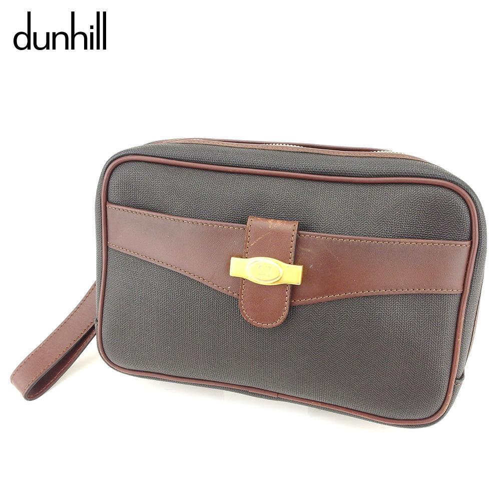 【中古】 ダンヒル dunhill クラッチバッグ セカンドバッグ メンズ  ブラウン ブラック PVC×レザー 人気 セール S982 .