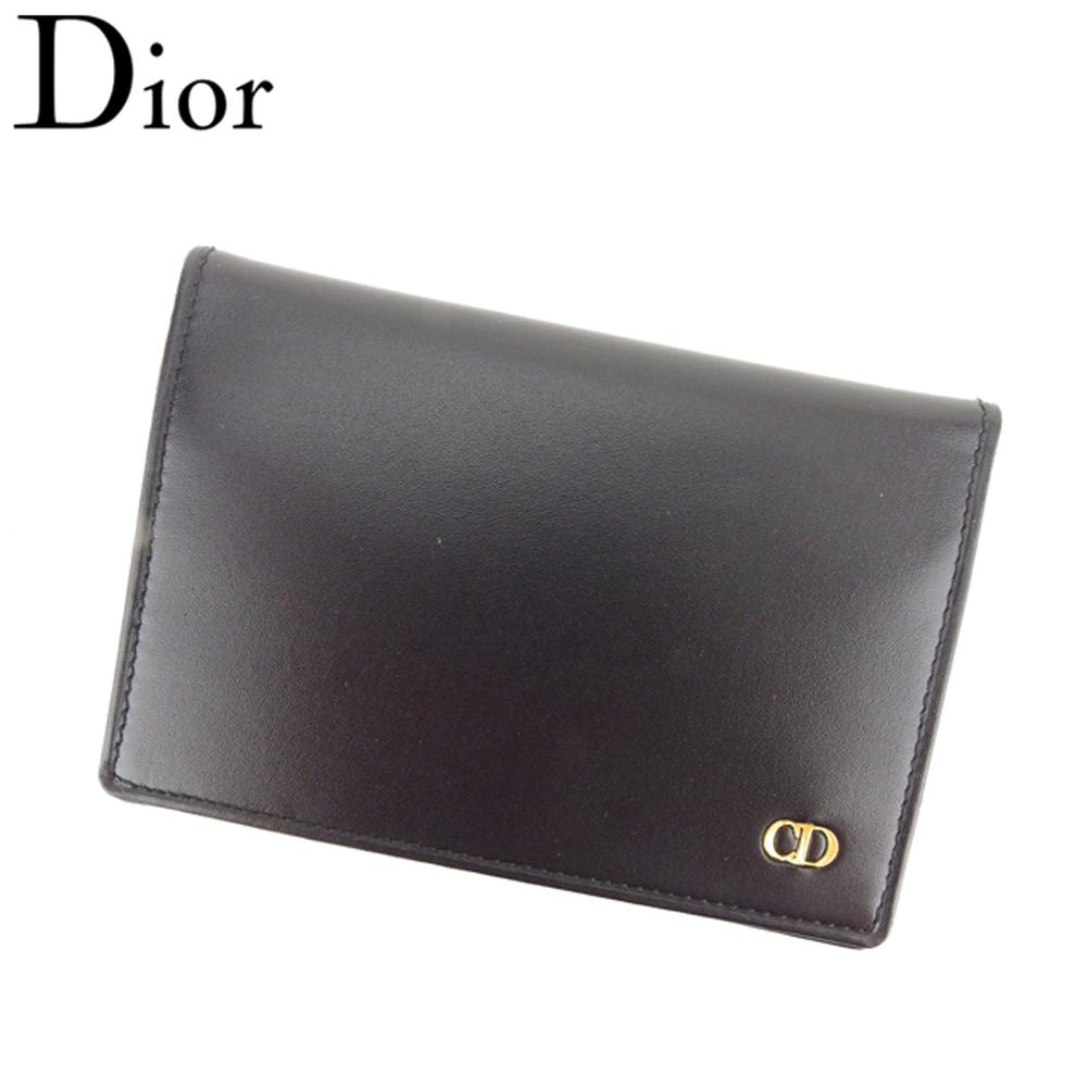 【中古】 ディオール Dior 名刺入れ カードケース メンズ CDマーク ブラック ゴールド レザー 未使用品 セール T8612 .