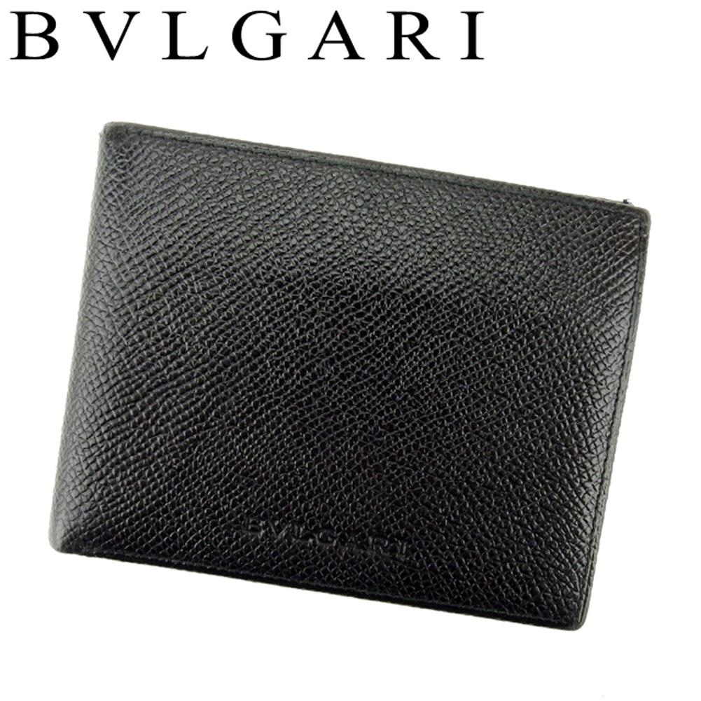 【中古】 ブルガリ BVLGARI 二つ折り 札入れ メンズ クラシコ ブラック レザー 美品 セール T8672 .