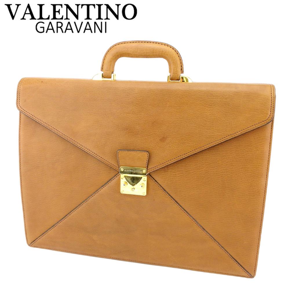 【中古】 ヴァレンティノ ガラヴァーニ VALENTINO GARAVANI ビジネスバッグ ブリーフケース メンズ ロゴプレート ブラウン ゴールド レザー 人気 セール T8704 .