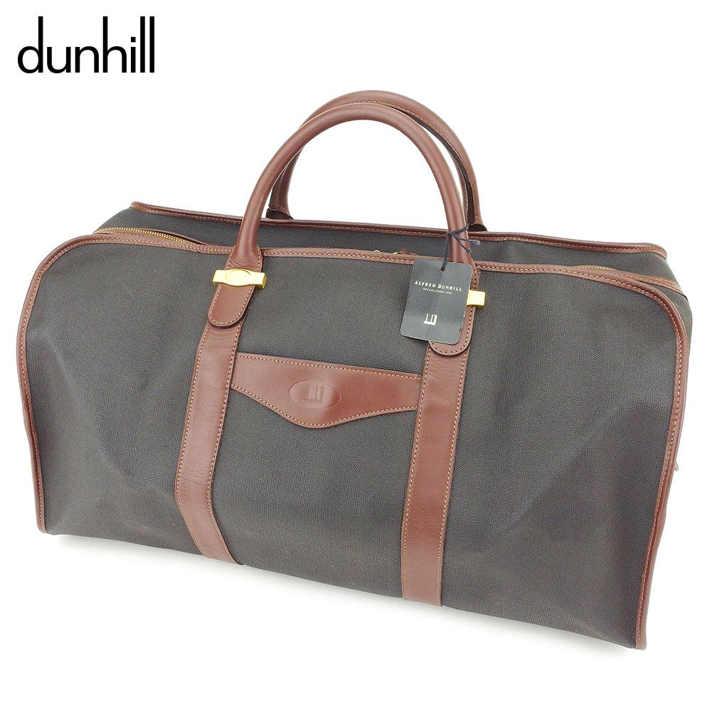 【中古】 ダンヒル dunhill ボストンバッグ 旅行用バッグ レディース メンズ  ブラック ブラウン PVC×レザー 人気 良品 T8801 .