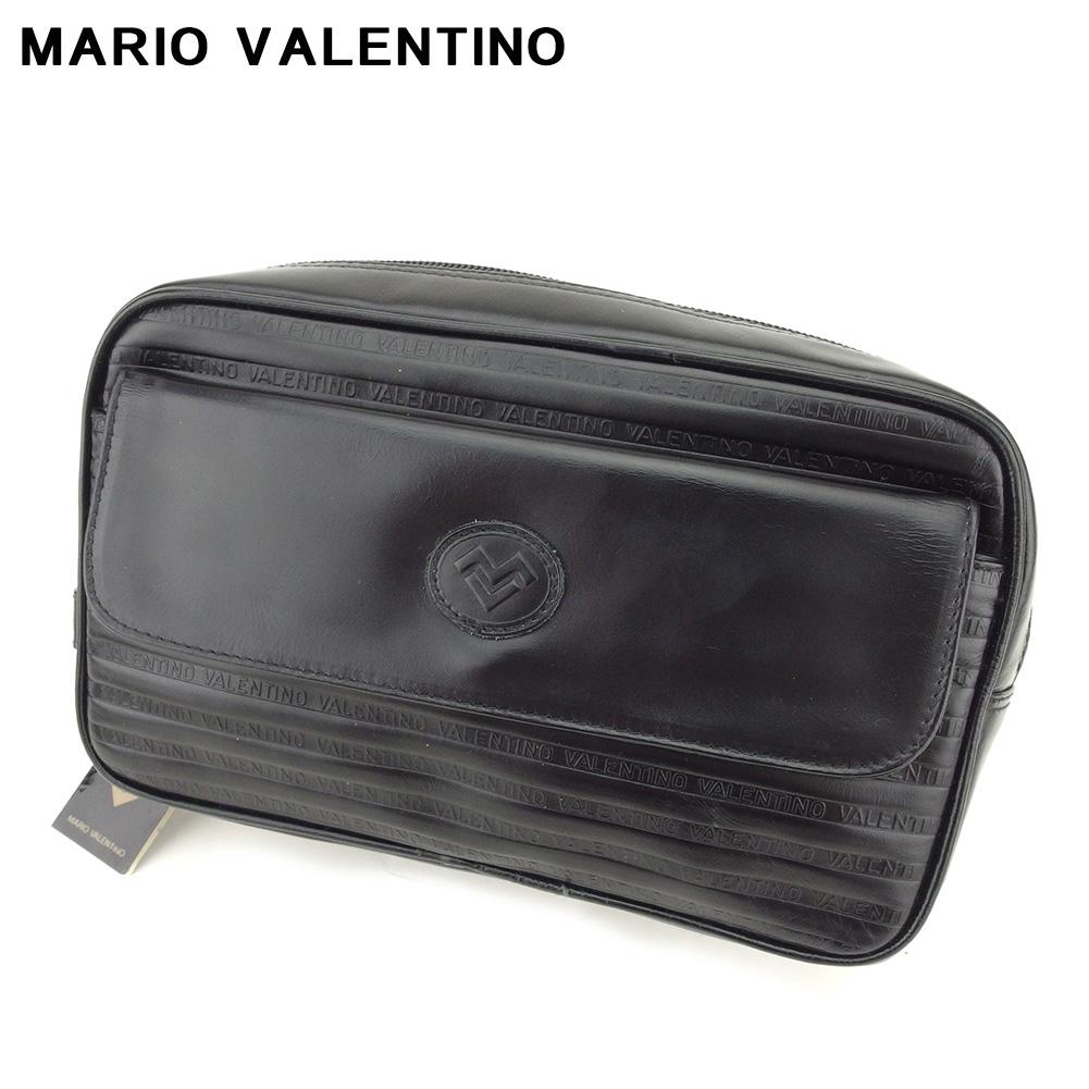 【中古】 マリオ バレンティノ MARIO VALENTINO クラッチバッグ セカンドバッグ レディース メンズ  ブラック レザー 未使用品 セール T8819 .