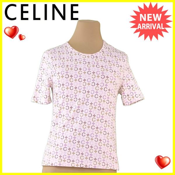 【中古】 【送料無料】 セリーヌ CELINE Tシャツ 半袖 カットソー レディース ♯Sサイズ Cマカダム ベージュ×パープル系 コットン綿88%ポリウレタン12% 良品 A1760s