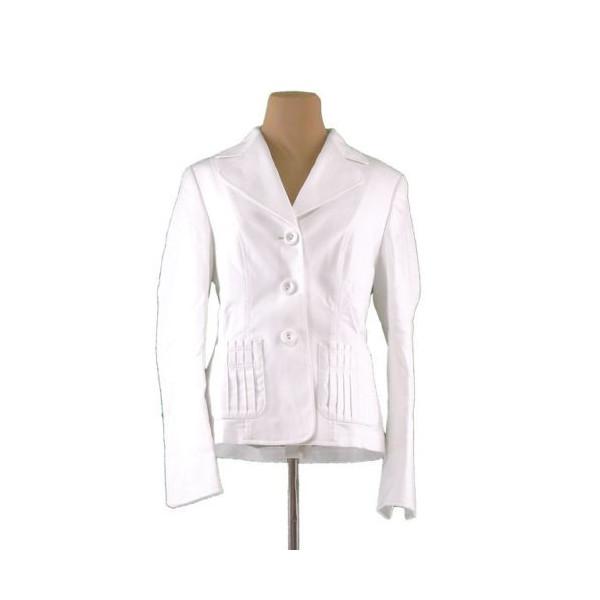 【中古】 エスカーダ ジャケット 三つボタン ♯38サイズ タックポケット ホワイト ESCADA レディース プレゼント 贈り物 1点物 人気 良品 秋 迅速発送 オシャレ 大人 在庫処分 ファッション I476