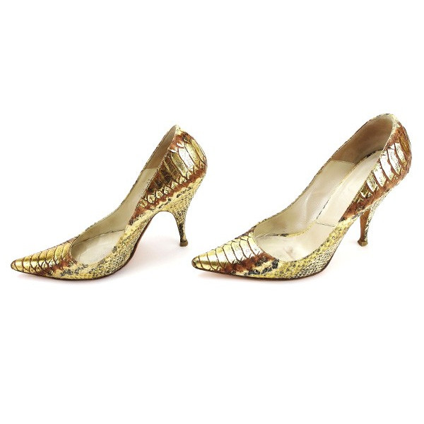 709d768ccaa Dior Dior pumps shoes shoes Lady's ♯ 36 half pointed toe python beige X  black X gold system python leather popularity L1578s.