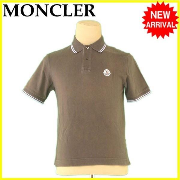 【中古】 【送料無料】 モンクレール MONCLER ポロシャツ 半袖 メンズ ♯Sサイズ ロゴワッペン カーキ×ブルー系 綿100% 人気 L2397