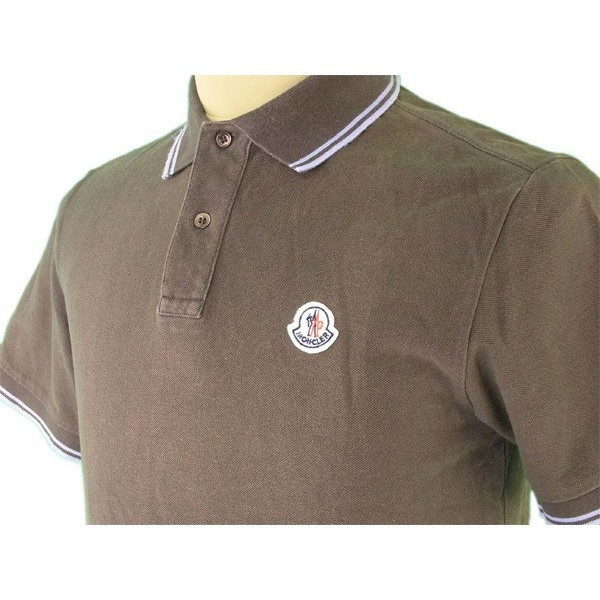4523c554 ... Monk rail MONCLER polo shirt short sleeves men ♯ small size logo emblem  khaki X blue ...