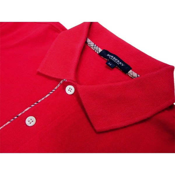 7d75250f ... Burberry BURBERRY polo shirt short sleeves men ♯ medium size hose  embroidery red system cotton cotton ...
