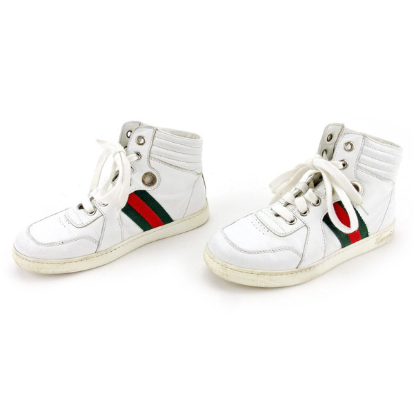 46385bbec ... Gucci GUCCI sneakers shoes shoes girls Boys possible ♯ 30  ハイカットキッズウェビングラインホワイト X ...