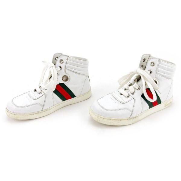 1674d9c9b ... Gucci GUCCI sneakers shoes shoes girls Boys possible ♯ 30  ハイカットキッズウェビングラインホワイト X ...