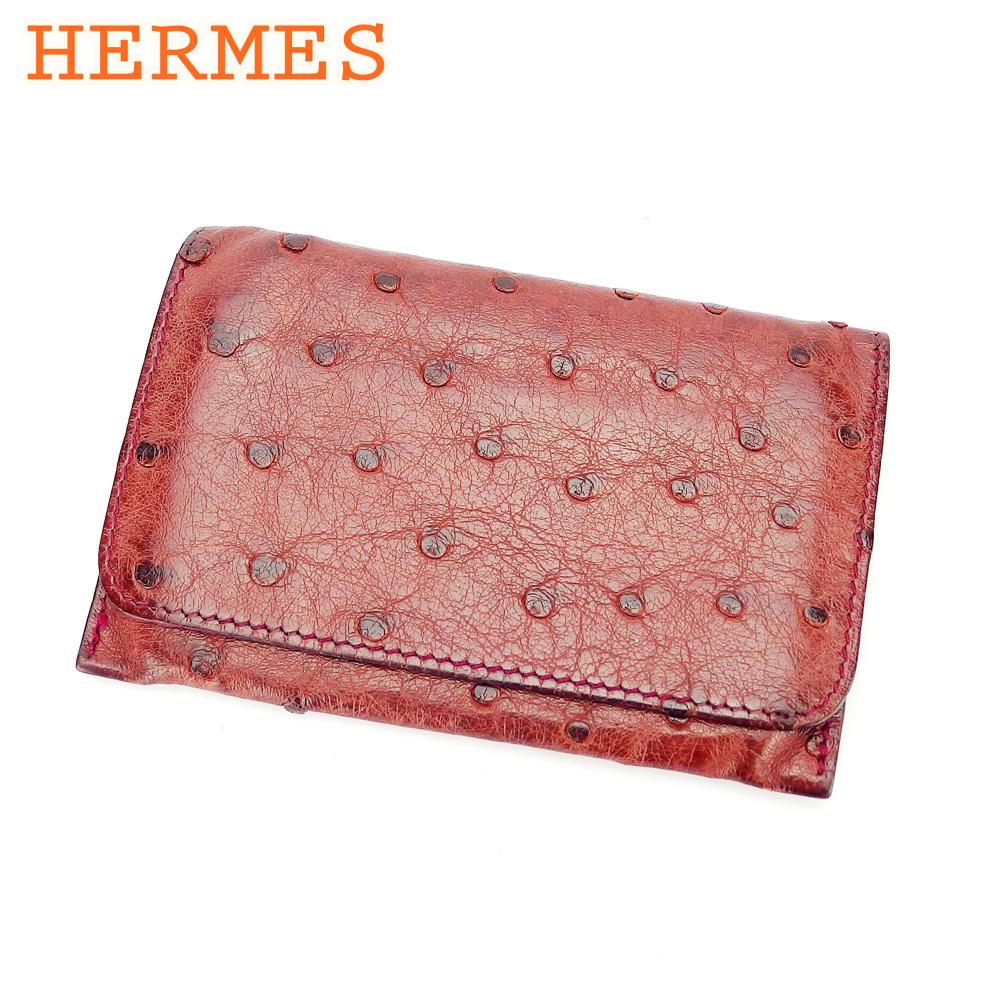 【中古】 エルメス HERMES カードケース 名刺入レ レディース メンズ ブラウン ボルドー オーストリッチレザー T16558