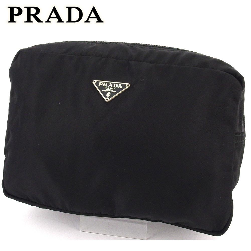 【中古】 プラダ ポーチ 化粧ポーチ レディース メンズ トライアングルロゴ ブラック ナイロン PRADA C3761