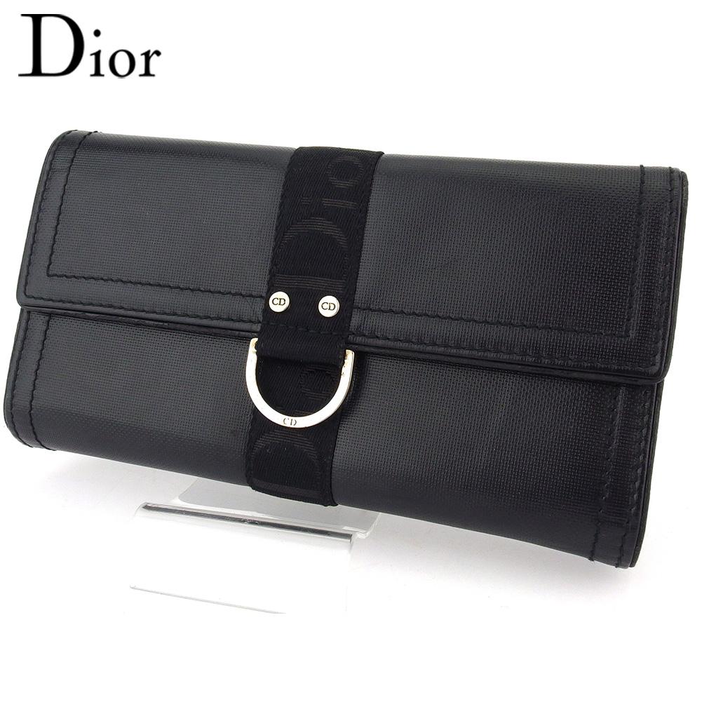 【中古】 ディオール 三つ折り 財布 長財布 レディース メンズ ロゴ ブラック レザー Dior T16586