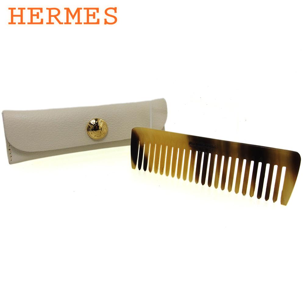 【中古】 エルメス クシ コーム 櫛 レディース メンズ ホワイト 白 HERMES T16596