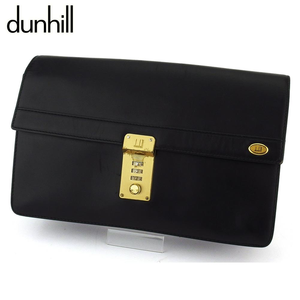 【中古】 ダンヒル クラッチバッグ セカンドバッグ メンズ ブラック レザー dunhill T16599