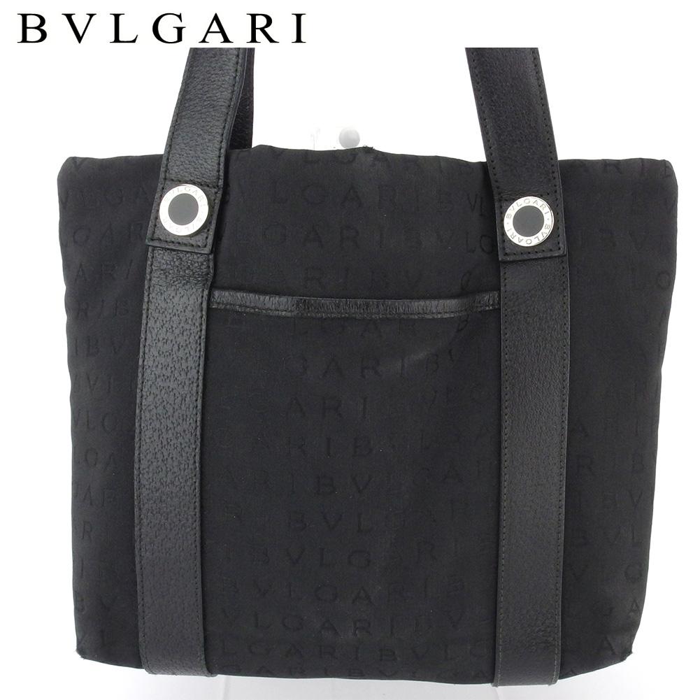 【中古】 ブルガリ トートバッグ ハンドバッグ レディース ロゴマニア ブラック キャンバス×レザー BVLGARI T16600
