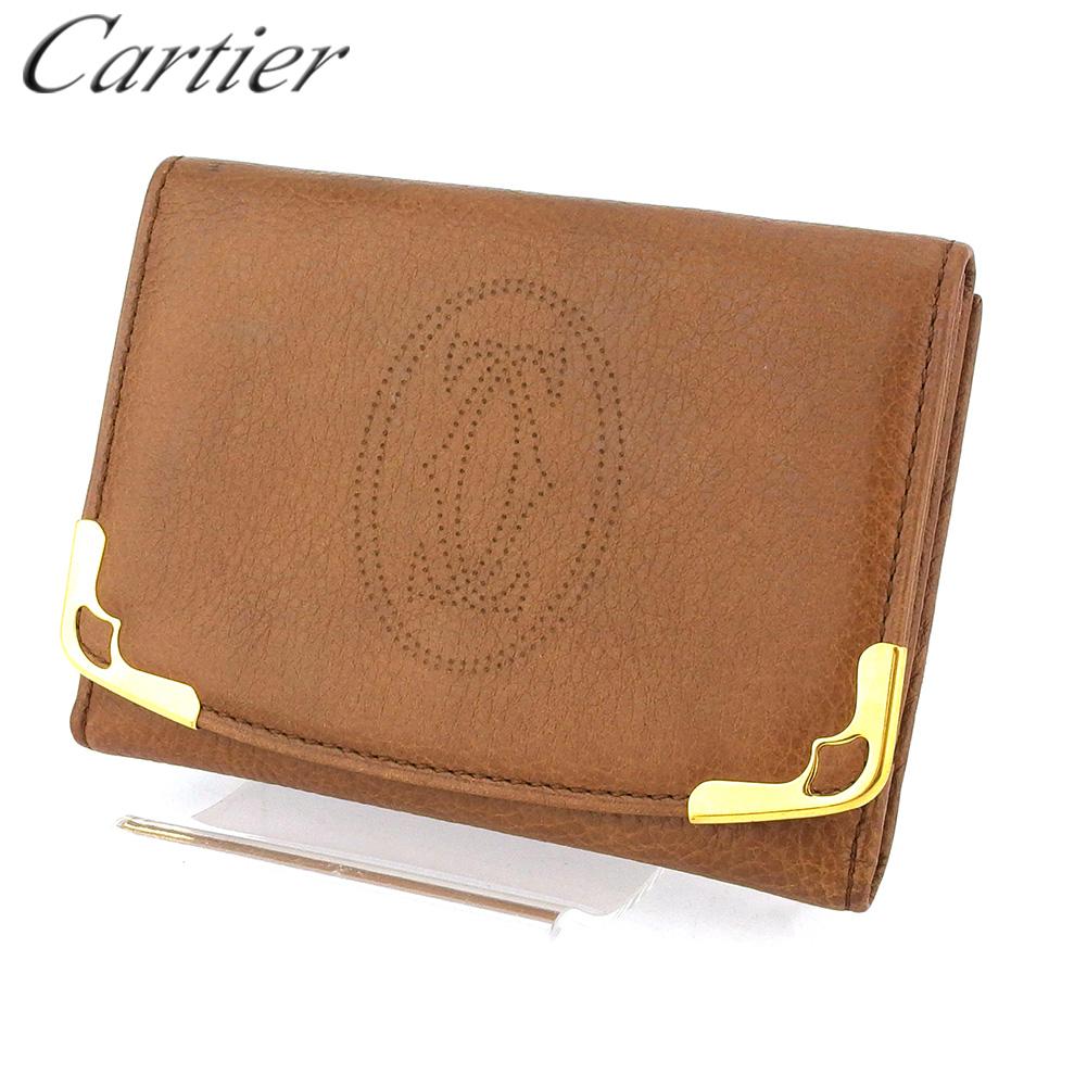 【中古】 カルティエ カードケース カード 名刺入れ レディース メンズ マルチェロ ブラウン レザー Cartier T16634