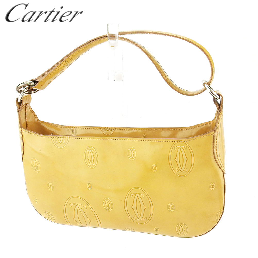 【中古】 カルティエ ハンドバッグ ポーチ レディース ハッピーバースデー ベージュ レザー Cartier C3825