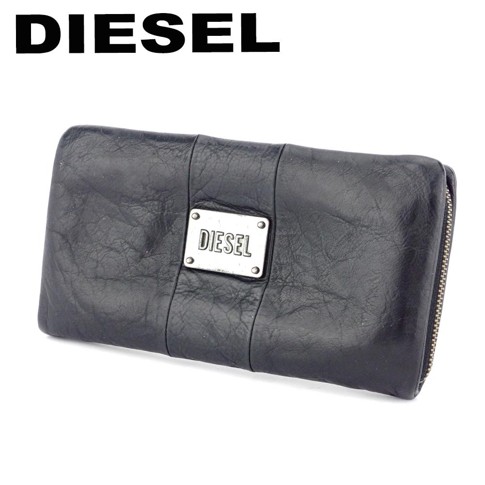 【中古】 ディーゼル 長財布 長財布 レディース メンズ ブラック レザー DIESEL C3828