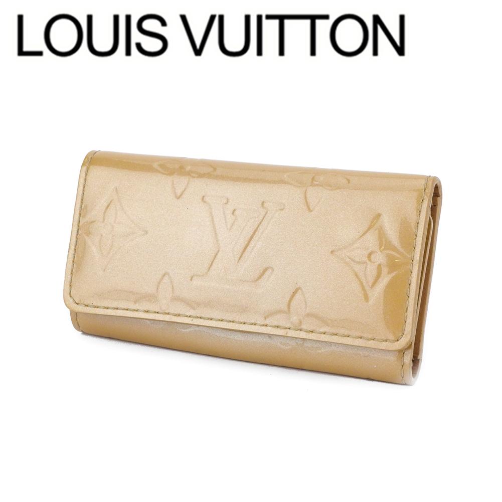 【中古】 ルイ ヴィトン キーケース 4連 レディース ミュルティクレ4 ヴェルニ ベージュ パテントレザ- Louis Vuitton T17966