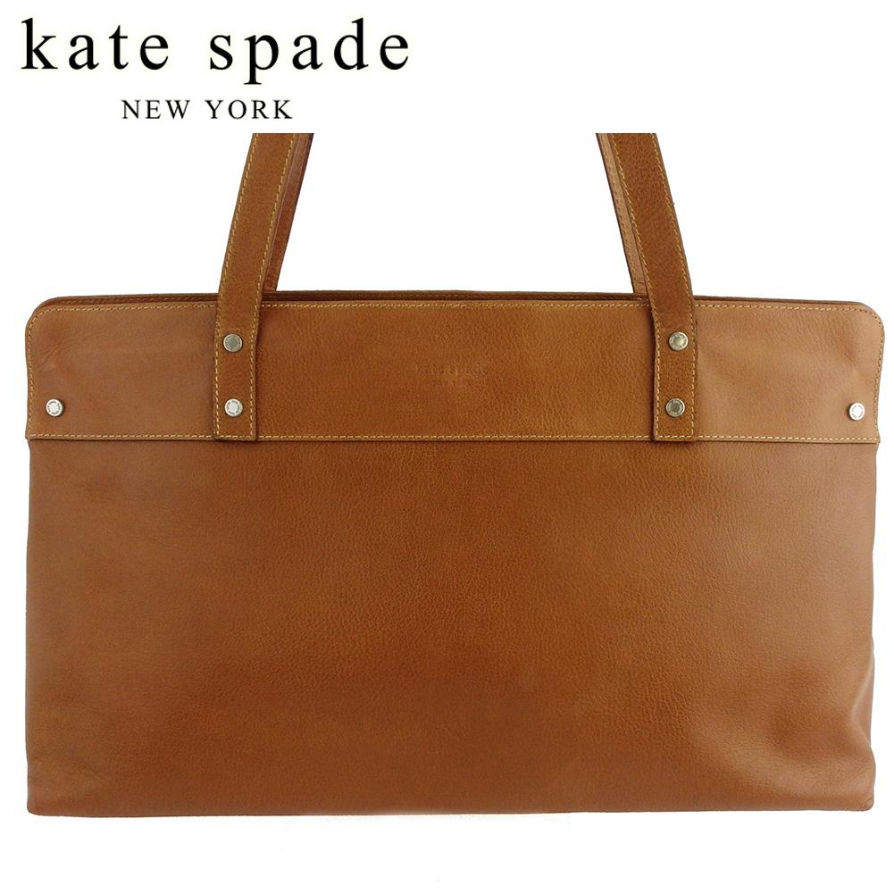 【中古】 ケイト スペード トートバッグ トート ショルダーバッグ レディース ロゴ ブラウン シルバー レザー kate spade C3882