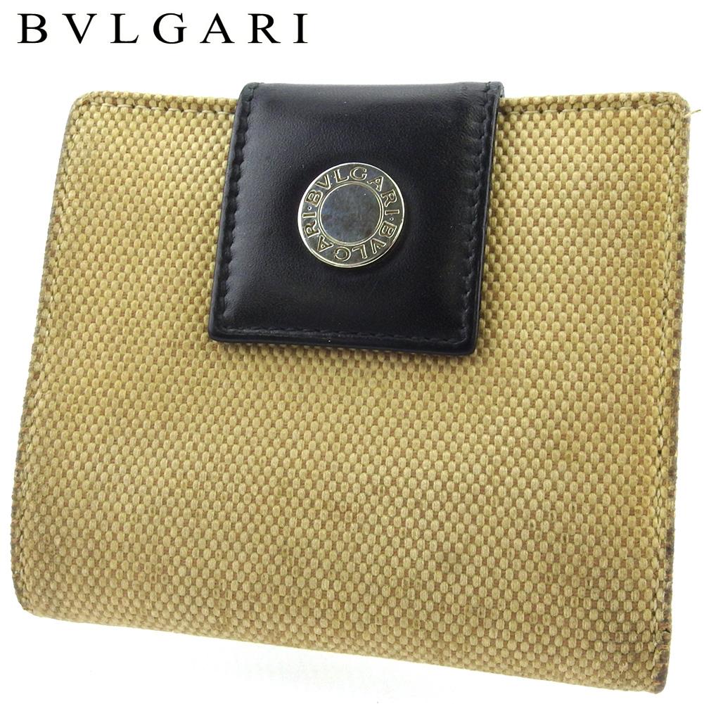 【中古】 ブルガリ 二つ折り 財布 ミニ財布 レディース メンズ 異素材コンビ ロゴボタン ベージュ ブラック シルバー キャンバス×レザー BVLGARI C3899