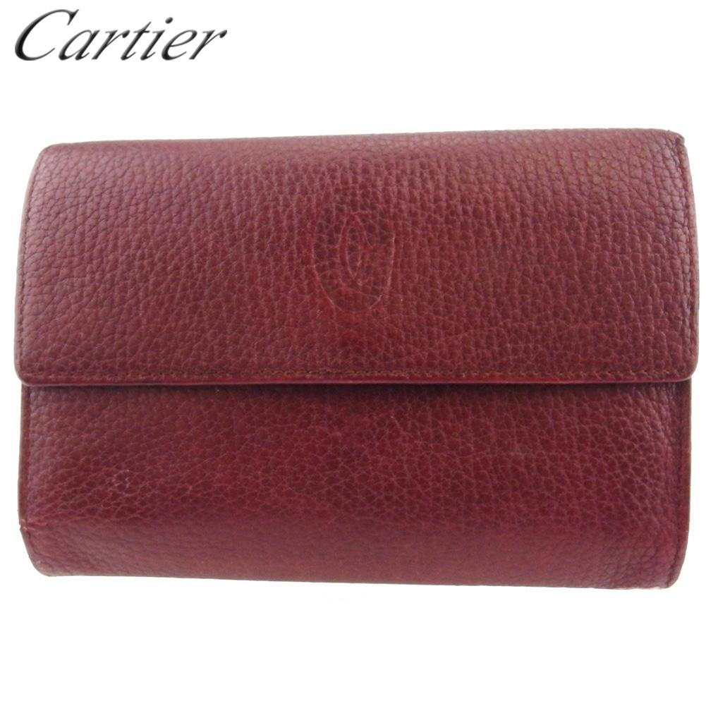 【中古】 カルティエ 三つ折り 財布 ファスナー付き レディース メンズ マストライン ボルドー ゴールド レザー Cartier C3904