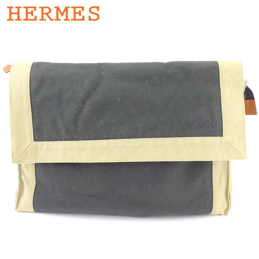 【中古】 エルメス クラッチバッグ セカンドバッグ ポーチ レディース メンズ バッグインバッグ タピドセル グレー 灰色 ベージュ コットンキャンバス HERMES C3907