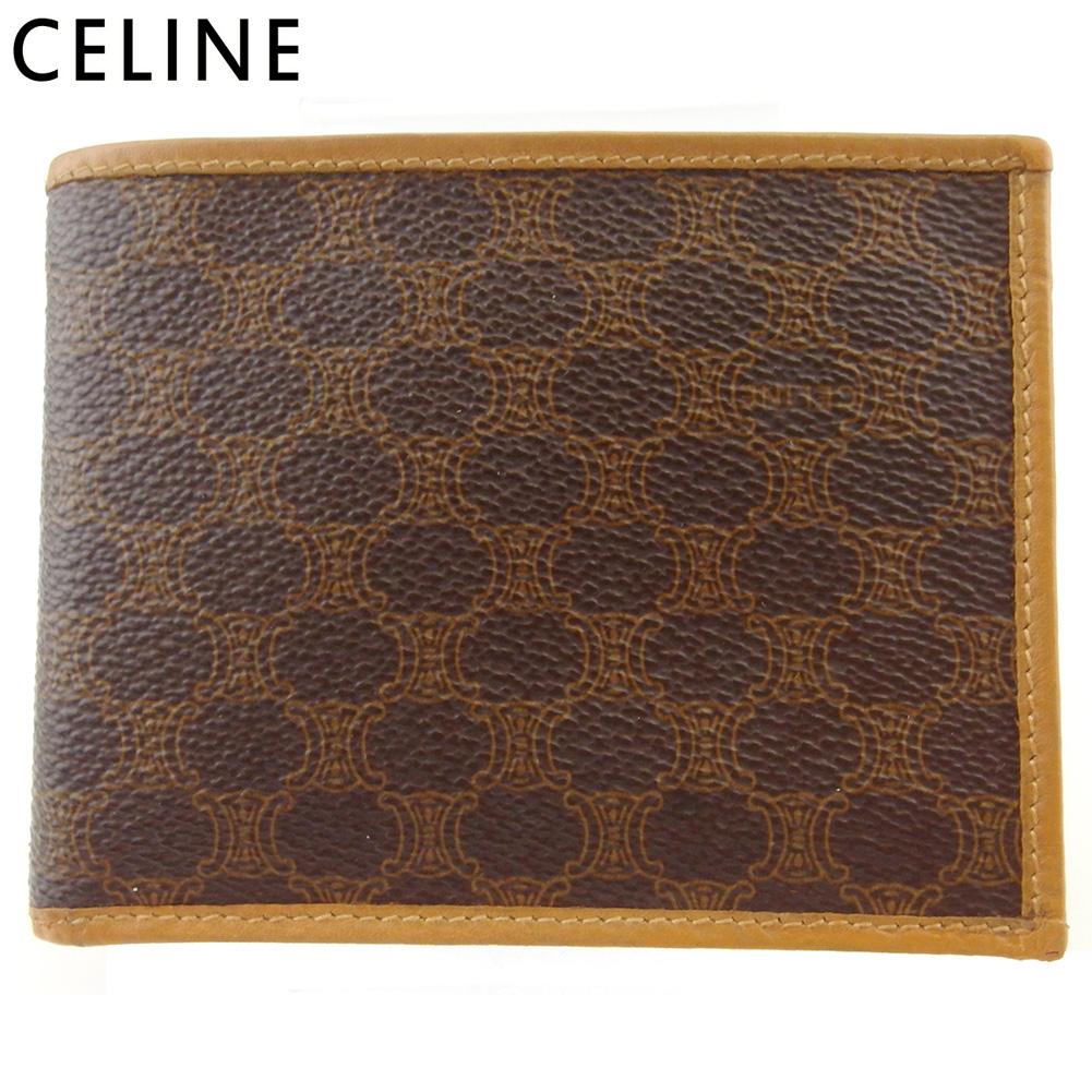 【中古】 セリーヌ 二つ折り 財布 ミニ財布 レディース メンズ マカダム ブラウン ベージュ PVC×レザー CELINE T17998