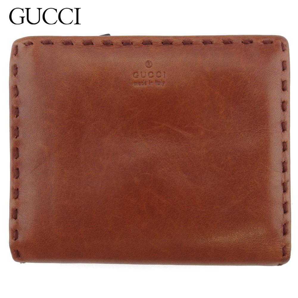 【中古】 グッチ 二つ折り 財布 ファスナー付き ミニ財布 レディース メンズ ステッチ ブラウン レザー GUCCI T18003