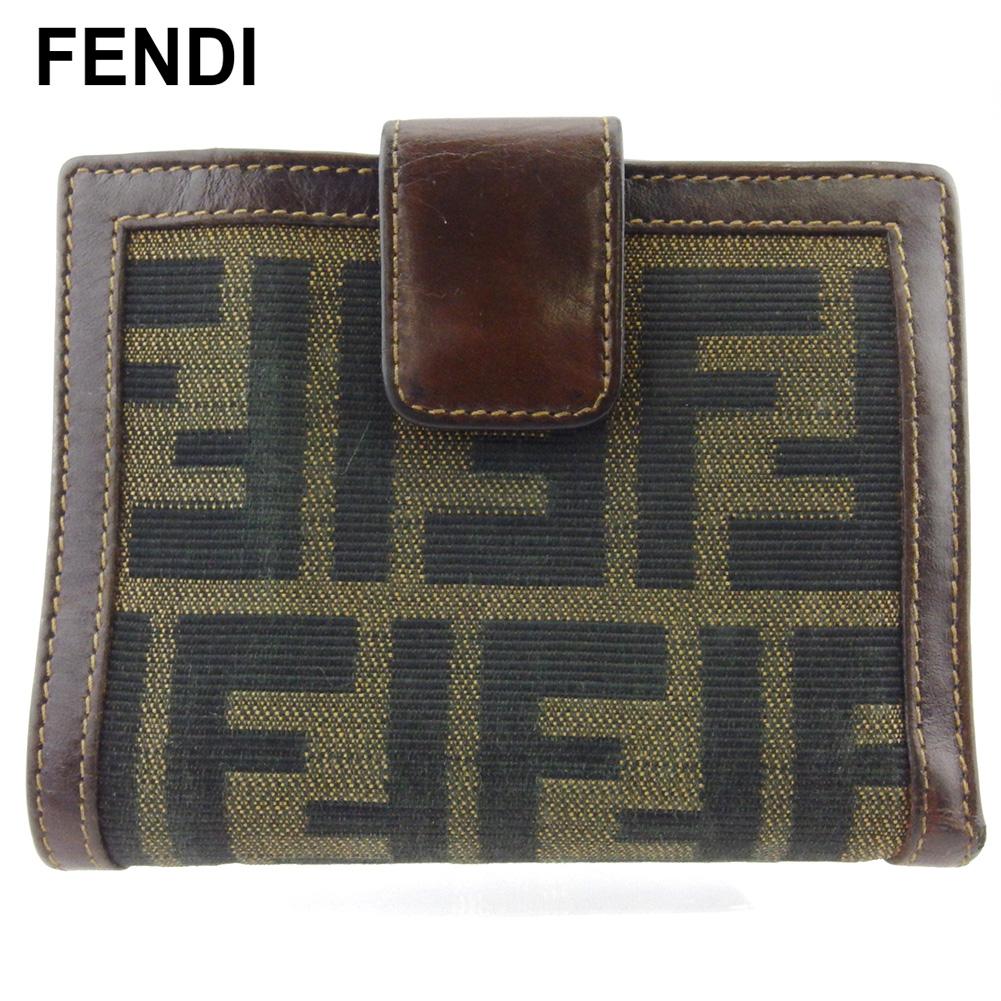 【中古】 フェンディ Wホック 財布 二つ折り ミニ財布 レディース メンズ ズッカ ブラウン ブラック ベージュ キャンバス×レザー FENDI T18018