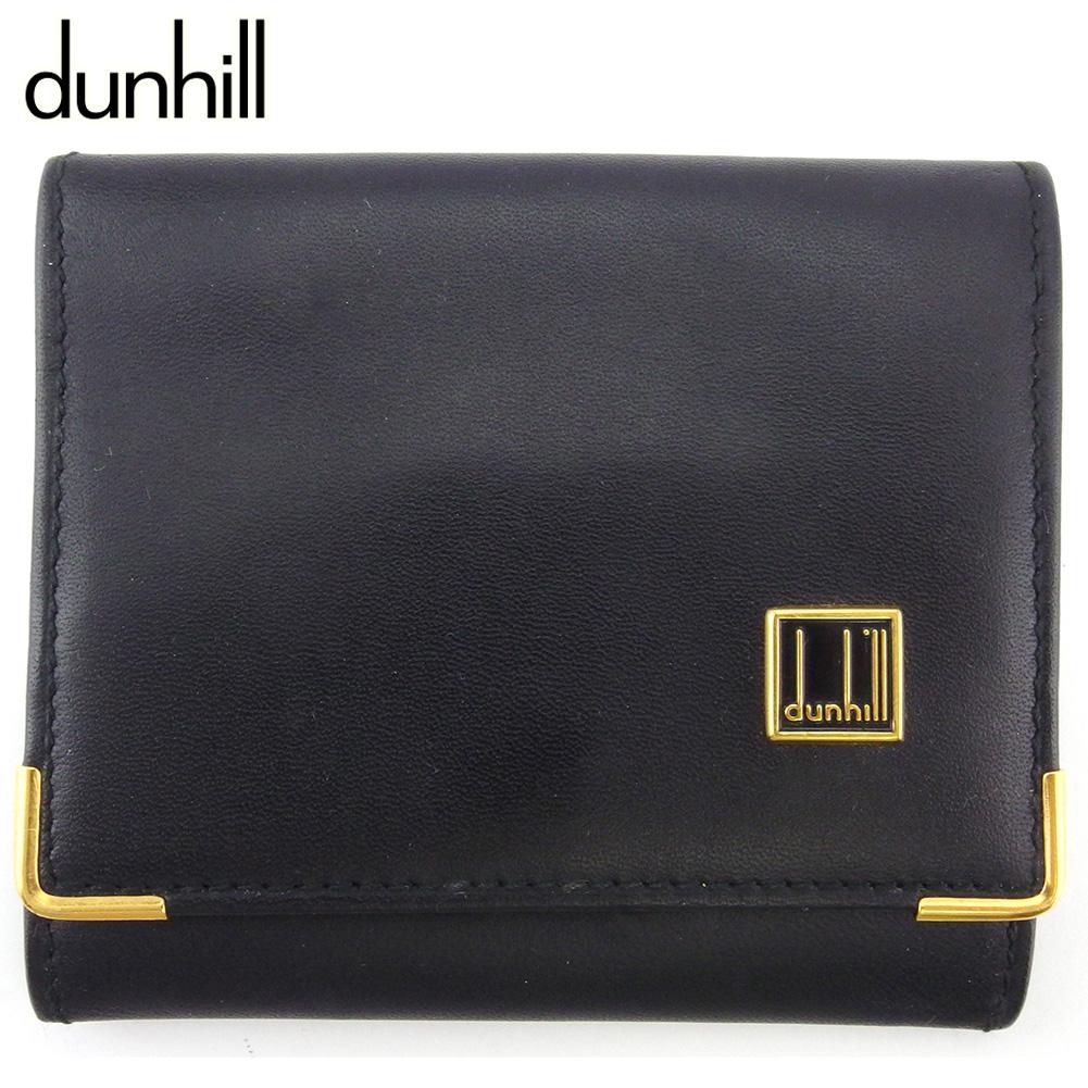 【中古】 ダンヒル コインケース 小銭入れ メンズ ロゴプレート ブラック ゴールド レザー dunhill C3914