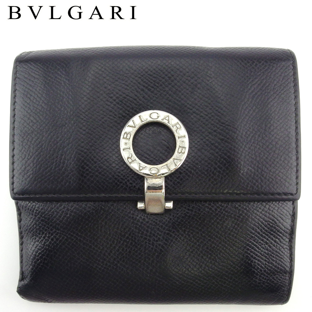 【中古】 ブルガリ Wホック 財布 二つ折り ミニ財布 メンズ ブルガリブルガリ ブラック シルバー レザー BVLGARI C3918