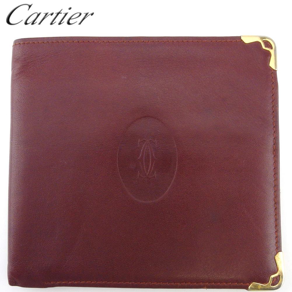 【中古】 カルティエ 二つ折り 札入れ ミニ札入れ レディース メンズ マストライン ボルドー ゴールド レザー Cartier C3919