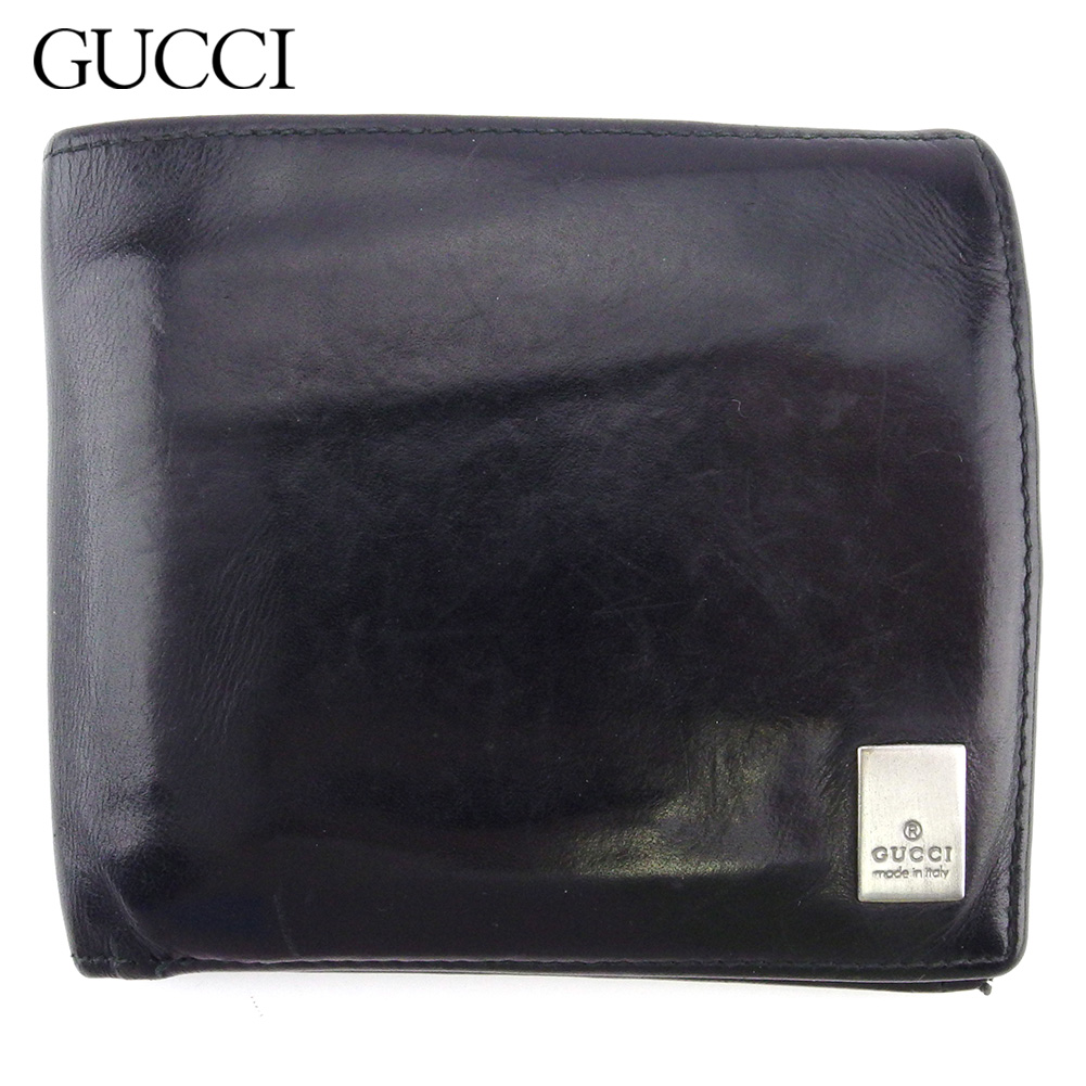 【中古】 グッチ 二つ折り 財布 ミニ財布 メンズ ロゴプレート ブラック シルバー レザー GUCCI C3920