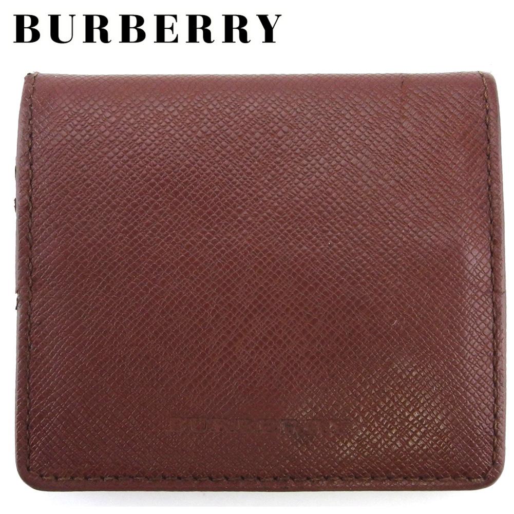 【中古】 バーバリー コインケース 小銭入れ メンズ スクエアフォルム ロゴ ブラウン レザー BURBERRY C3933