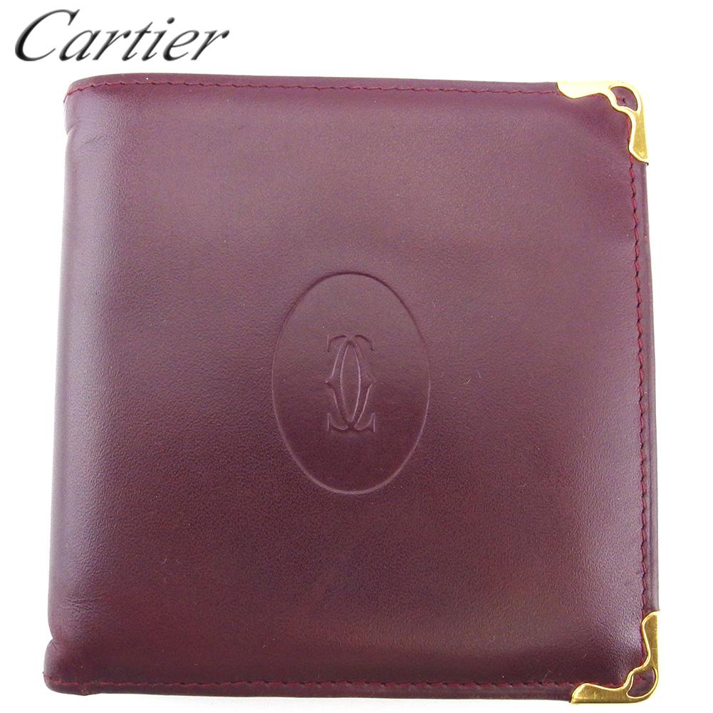 【中古】 カルティエ 二つ折り 財布 ミニ財布 レディース メンズ マストライン ボルドー ゴールド レザー Cartier C3937