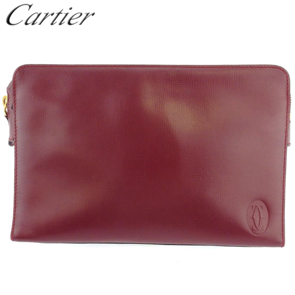 【中古】 カルティエ クラッチバッグ セカンドバッグ レディース メンズ マストライン ボルドー ゴールド レザー Cartier E1619