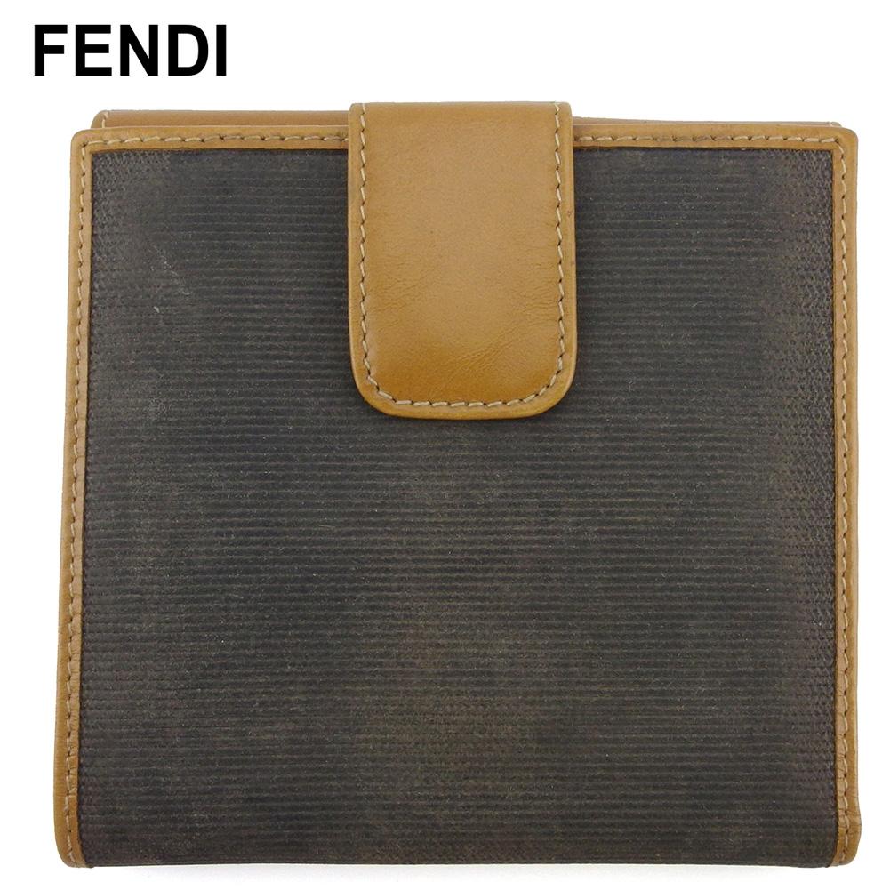 【中古】 フェンディ Wホック 財布 二つ折り ミニ財布 レディース メンズ ペカン ベージュ ブラック ブラウン PVC×レザー FENDI F1657