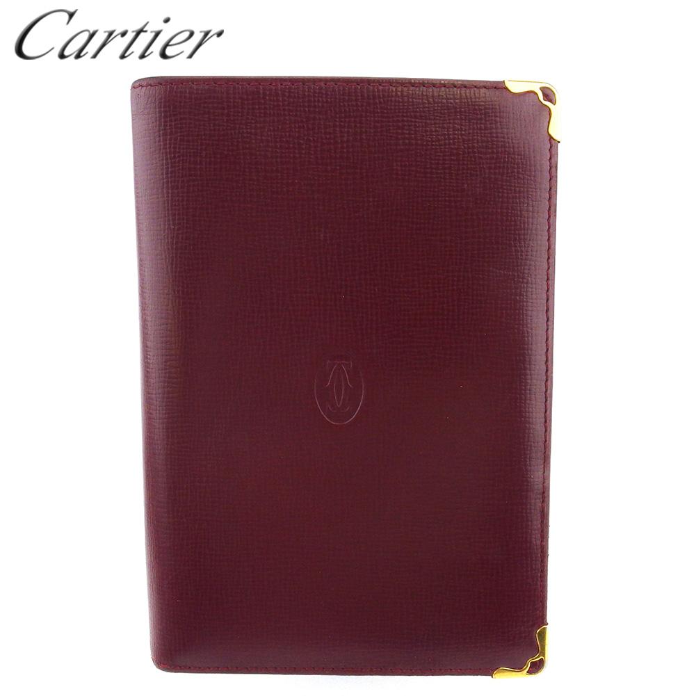 【中古】 カルティエ 二つ折り 財布 ファスナー付き レディース メンズ マストライン ボルドー ゴールド レザー Cartier F1663