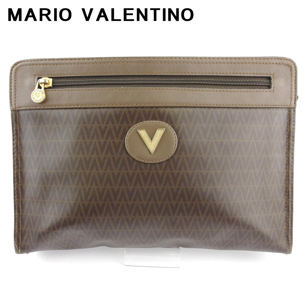 【中古】 マリオ ヴァレンティノ クラッチバッグ セカンドバッグ レディース メンズ Vマーク ブラウン ゴールド PVC×レザー MARIO VALENTINO T18567