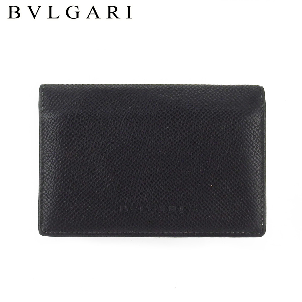 【中古】 ブルガリ 名刺入れ カードケース レディース メンズ ブラック レザー BVLGARI T18137